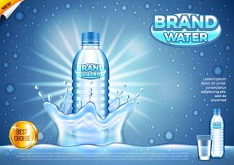 Water ads. Plastic bottle in splashes vector background
