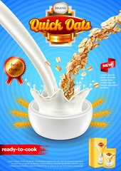 Oatmeal ads. Pouring milk and oats vertical background