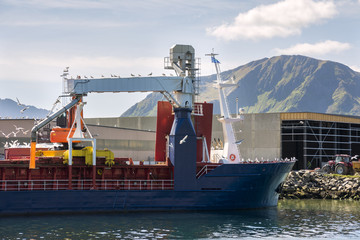 Ship in the port of Myre near Niksund to the Lofoten in Norway