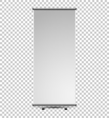 Roll up banner stand isolated on transparent background. Vector illustrator. mockup for presentation your product.