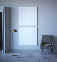 Mock Up Posters in Minimalist interior. 3d Rendering