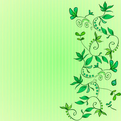 Green background in a narrow strip. On the right side Floral ornament - green climbing plants, flowers, leaves. On the template there is an empty space for the inscription. Vector.