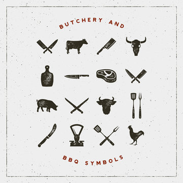 set of butchery and barbecue symbols with letterpress effect. vector illustration