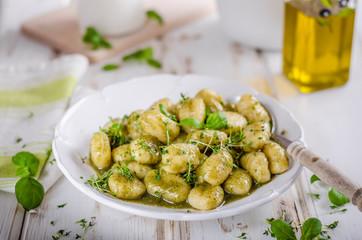 Pesto gnocchi, garlic and fresh herbs olive oil