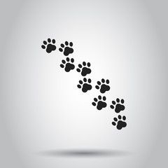 Paw print animal icon. Vector illustration on isolated background. Business concept dog or cat pawprint pictogram.