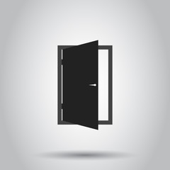 Exit door icon. Vector illustration on isolated background. Business concept open door pictogram.
