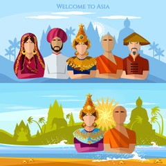 Asia banner. Religion and people of Asia. Religions and traditions of Asia and world. Hindu, buddhist monk, woman in sari, asian girl in national suit