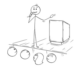 Cartoon stick man drawing conceptual illustration of businessman or business speaker or orator with microphone making speech or talking to public.