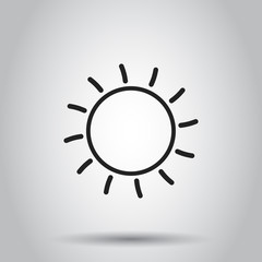 Sun icon. Vector illustration on isolated background. Business concept sun with ray pictogram.