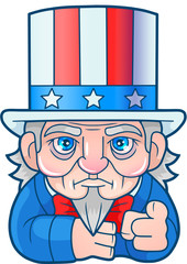 cartoon funny Uncle Sam, cute illustration