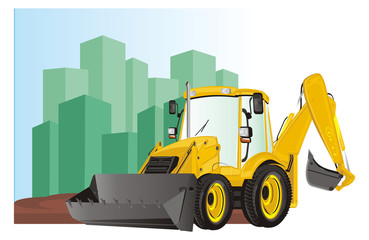 excavator, construction, bulldozer, tractor, building, illustration, dig, building site, shadow, houses, yellow, black,