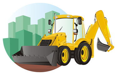 excavator, construction, bulldozer, tractor, building, illustration, dig, building site, icon, yellow, black,