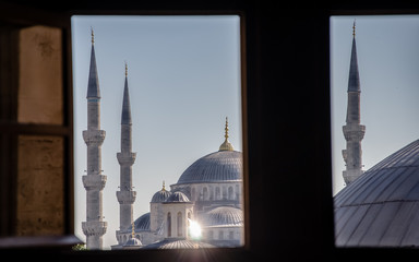 Sultan Ahmed (Blue) Mosque in Istanbul. The shot made through a window of Hagia Sophia