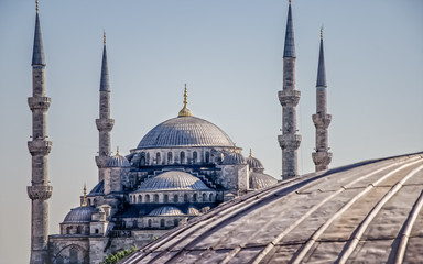 Sultan Ahmed Mosque (Blue Mosque) in Istanbul under the blue sky. The shot made from Hagia Sophia