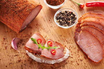 Sandwich with dried pork meat closeup