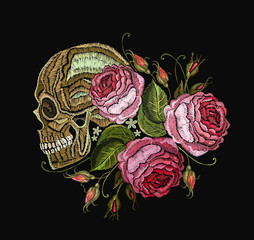 Embroidery skull and flowers. Gothic romantic embroidery human skulls and red roses. Fashion template for clothes, textiles, t-shirt design