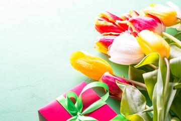Tulip flower bouquet close up.