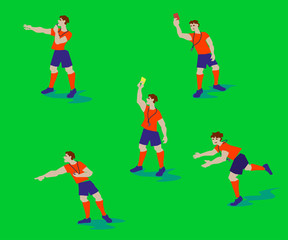 Vector Illustration from Soccer referees, football referees in actions. Flat design people characters.