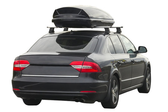 Car with roof luggage box container for travel isolated on white background