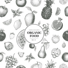 Fruits hand drawn vector seamless pattern. Banner template. Retro engraved style background. Can be use for menu, label, packaging, farm market products.