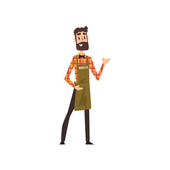Friendly male barista with apron with arm out in a welcoming gesture, coffee shop cartoon vector Illustration on a white background