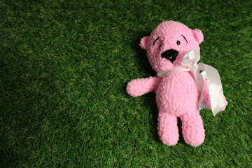 Rose toy teddy bear with bow