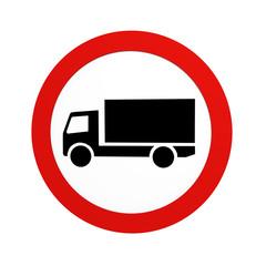 deutsches Verkehrszeichen (Verkehrsverbote): Verbot für LKW, in Vorderansicht, auf weiß isoliert. 3d render