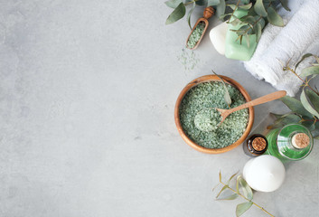 Massage and Spa products with  eucalyptus Wall mural