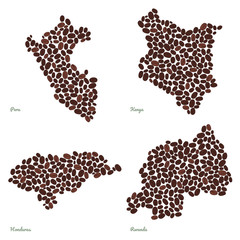 Country maps made out of coffee beans. Vegetarian illustration. Four maps set. Largest Coffee Producing Countries. For illustrators, decoration or infographics.