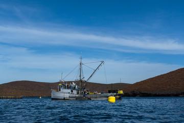 Un barco de pesca en el Mar de Cortez en Baja California México.