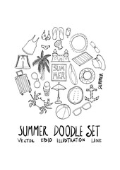 Summer doodle illustration circle form wallpaper background line sketch style set eps10