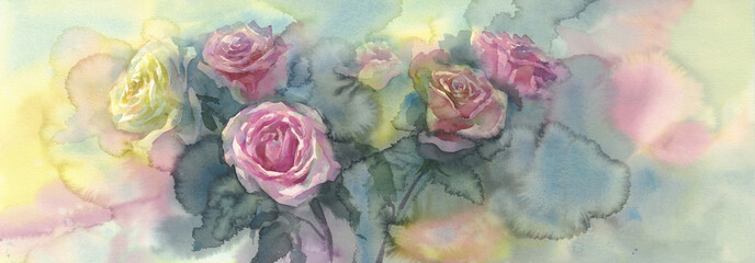 sweet pastel roses colorful background watercolor