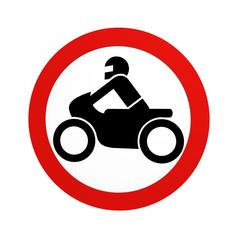 deutsches Verkehrszeichen (Verkehrsverbote): Verbot für Krafträder, in Vorderansicht, auf weiß isoliert. 3d render