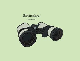 Binocular , engraved hand drawn vector.