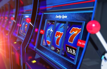 Row of Slot Machines 3D