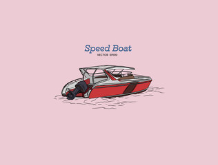 Vector speed boat, hand draw vector.