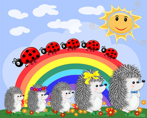 A family of five cute cartoon hedgehogs and a family of five ladybirds on a seven-color rainbow on a spring, summer day