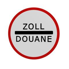 deutsches Verkehrszeichen: Zollstelle, in Vorderansicht, auf weiß isoliert. 3d render