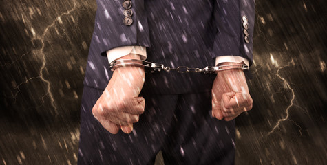 Stormy wallpaper with close handcuffed man