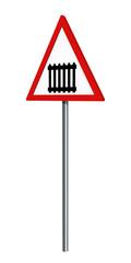 deutsches Verkehrszeichen: Bahnübergang mit Schranken, auf weiß isoliert. 3d render