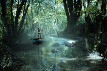 un homme navigue sur une barque dans la forêt tropicale