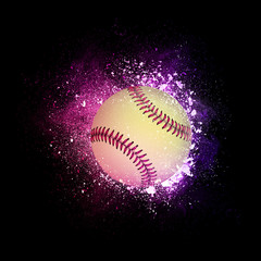 Fastball Ball flying in violet particles isolated on black background. Sport competition concept for fastball tournament poster, placard, card or banner.