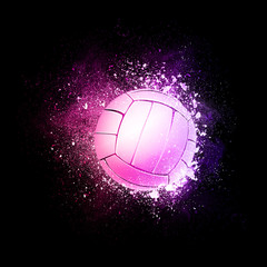 Volleyball Ball flying in violet particles isolated on black background. Sport competition concept for volleyball tournament poster, placard, card or banner.