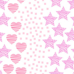 Pink hearts and stars valentine's day seamless pattern. Hand drawn doodle elements vector illustration for textile, wrapping, wallpapers, etc.  White background.
