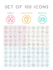 Set of 100 Universal Minimal Black Stroke Icons on Circular Buttons ( Education School Family People and Medical )