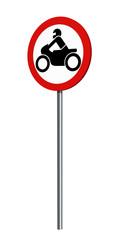 deutsches Verkehrszeichen (Verkehrsverbote): Verbot für Motorräder, auf weiß isoliert. 3d render