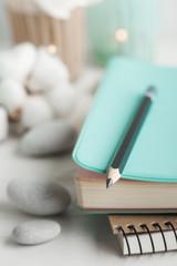 Mint notebook, meditation space