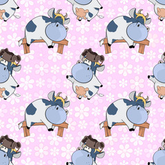Foto auf Leinwand Babyzimmer Background with Cute Cows for you Design. Seamless Pattern