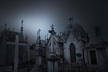Old cemetery at dusk