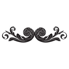 Vintage baroque frame engraving scroll ornament